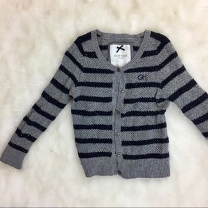 GILLY HICKS CLASSIC GRAY & NAVY CARDIGAN SWEATER